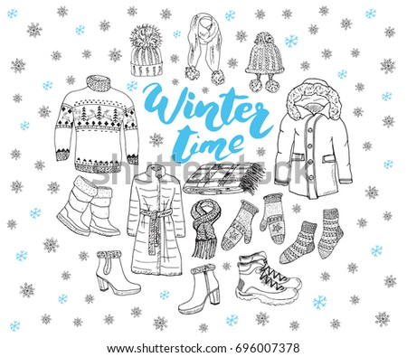 808712a87bcc Winter Season Set Doodle Elements Hand Stock Vector (Royalty Free ...