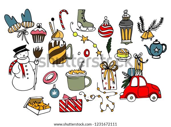 Winter Season Themed Doodle Set New Stock Vector (Royalty