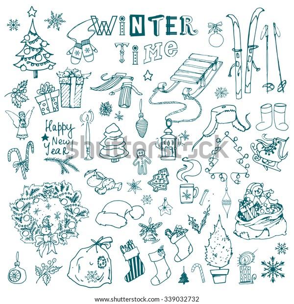 Winter Season Themed Doodle Set Snowflakes Stock Vector