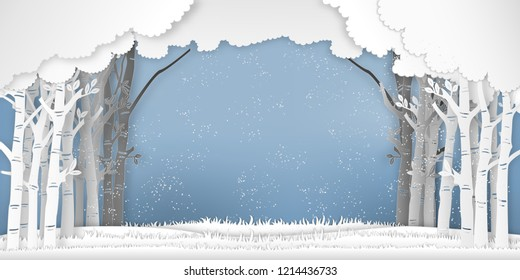 The winter season with trees in the forest and snow  as Paper art , cut and digital craft style concept. vector illustration