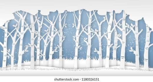 the winter season with trees and snow  as Paper art and digital craft style concept. vector illustration
