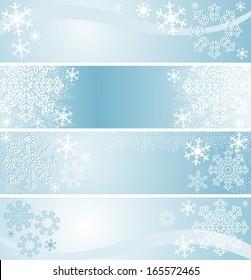 Winter seasonal Banners in blue.