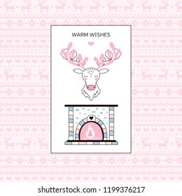 Winter seasonal greetings postcard with illustrated fireplace and deer head on jacquard background. Warm Wishes phrase. Vector linear graphic.