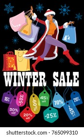 Winter seasonal sale. Creative poster. Woman with shopping bags and colorful price tags. Seasonal sale design template on black background. Vector.