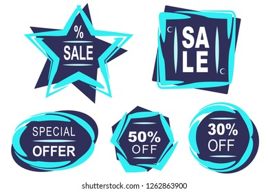Winter set of banners in light and dark blue color. They are shapes - rectangles, stars, squares, circles, and ellipses. There are banner sale, 30%, 50% and great offer. It is brush stroke background.