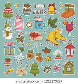 Winter set. Cute vector illustrations: sweater, hat, snowflakes, gift, snowman, socks, lantern, tea, book, letter etc. Vector
