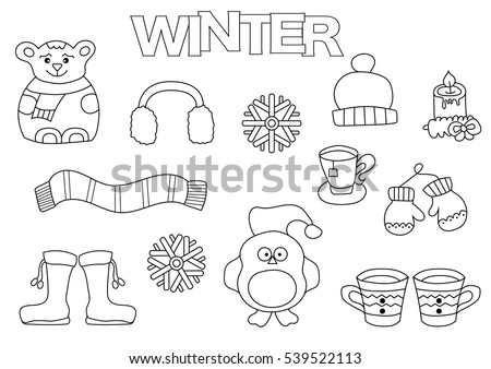 Winter Set Hand Draw Coloring Book Stock Vector (Royalty Free ...