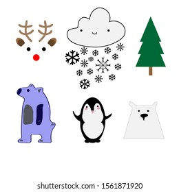 Winter set vector illustration flat animals deer smiling snow cloud snowlakes christmas tree blue bear white bear penguin white background, greeting cards,  stickers,gift paper, fabric, textile kids