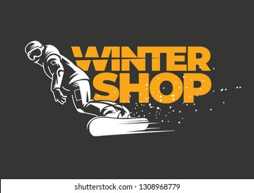 Winter shop emblem for an active winter sport. Snowboarder slides down the slope