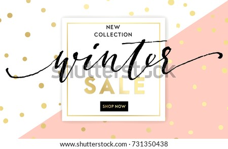 winter shopping sale flyer template lettering のベクター画像素材