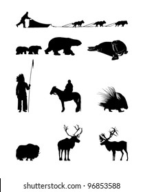 Winter Silhouettes of animals, sled dogs and the Indian