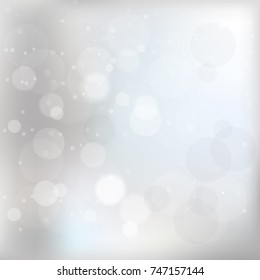 Winter silver blur snow background. Vector illustration.
