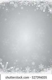 Winter silver christmas background with the snow and snowflake border