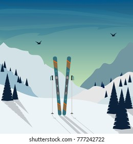 Winter Skiing holiday in mountains. Snowy mountain landscape with skis and ski poles standing in snow in the foreground. Vector illustration