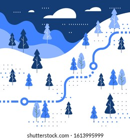Winter skiing slope map, snow forest, trail walking, running or cycling path, orienteering game, white landscape with hills and trees, vector flat design illustration