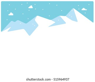 Winter skiing snow mountains tops background. Vector illustration.
