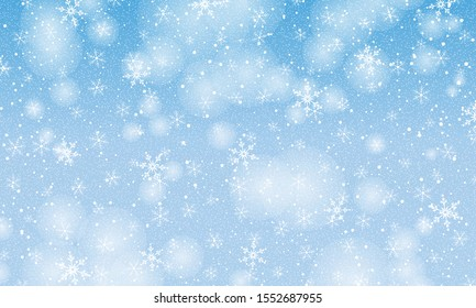 Winter snow background. Vector illustration. Snowfall sky. Christmas background. Falling snow.