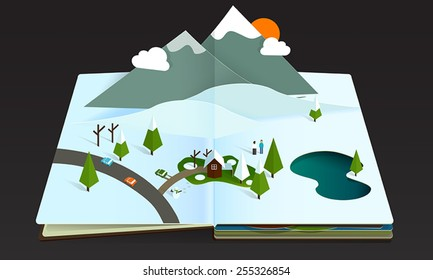 winter snow forest and mountain pop-up book