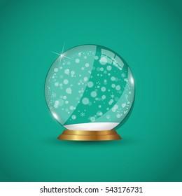 Winter snow globe illustration on a green background