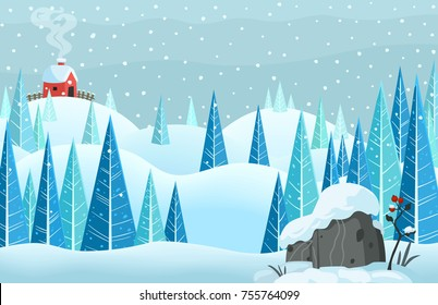winter snow horisontal forest landscape with house on the hill