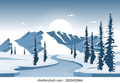 Winter Snow Pine Mountain Frozen River Nature Landscape Illustration