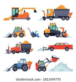 Winter Snow Removal Machines Collection, Cleaning Road Truck, Excavator, Snowblower, Snow Plow Vehicles Vector Illustration