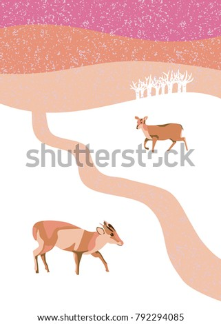 Winter snow scene at dusk with muntjac deer