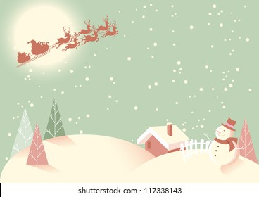 Winter Snow Scene - Soft vintage retro type feel to this subtle pastel coloured Christmas scene.