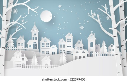 Winter Snow Urban Countryside Landscape City Village with full moon,Happy new year and Merry christmas,paper art and  digital craft style.