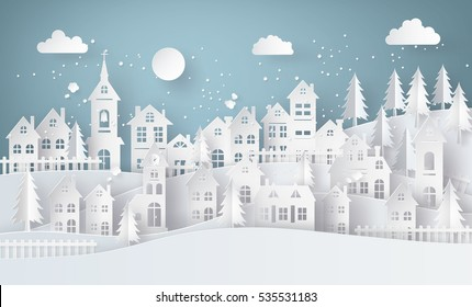 Winter Snow Urban Countryside Landscape City Village with full moon,paper art and digital craft style.
