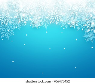 Winter snow vector background with white snowflakes elements falling and empty space for text in blue background. Vector illustration.