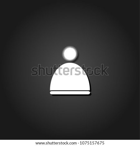 1fdb5f49b6f Winter snowboard cap icon flat. Simple White pictogram on black background  with shadow. Vector illustration symbol - Vector