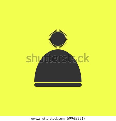 d8272d54756 Winter snowboard cap icon flat. Black pictogram on white background. Vector  illustration symbol and