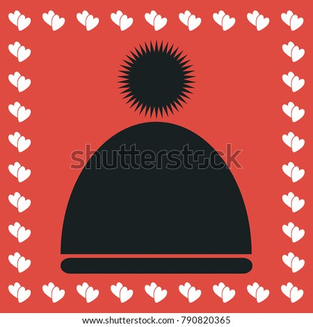 42370119e7a Winter snowboard cap icon flat. Simple black pictogram on red background  with white hearts for valentines day. Vector illustration symbol - Vector