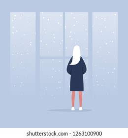 Winter, snowfall. Contemplate. Meditate. Harmony. Young calm female character looking through the window. Back view. Conceptual illustration, clip art