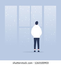 Winter, snowfall. Contemplate. Meditate. Harmony. Young calm character looking through the window. Back view. Conceptual illustration, clip art