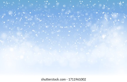 Winter snowfall and snowflakes on light blue background. Cold winter Christmas and New Year background. Vector illustration