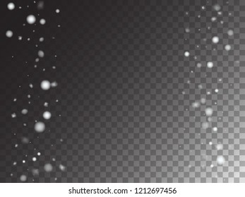 Winter Snowfall Vector Storm Trail Transparent Background. Isolated Snowflake Scatter, Realistic Snow Confetti Falling Down. Hipster Gray Scale Realistic Snow Confetti, Christmas, New Year Decoration
