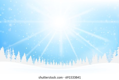 Winter snowflake falling into snow floor and lighting over blue abstract background for winter celebration promotion and christmas with copy space and vector illustration