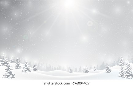 Winter snowflake falling into snow floor and lighting over gray abstract background for winter celebration promotion and christmas with copy space and vector illustration
