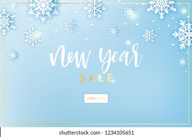 Winter snowflakes background with snow flakes and magic lights. Merry Christmas and Happy New Year greetings card. Snow fall text. Holidays seasonal background. Vector sale banner template. Snowfall.