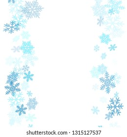 Winter snowflakes border card vector background.  Many snowflakes flying border design, holiday banner with flakes confetti scatter frame, snow elements. Frosty season symbols.