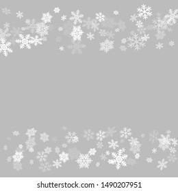 Winter snowflakes border card vector background.  Macro snowflakes flying border illustration, holiday banner with flakes confetti scatter frame, snow elements. Freezing cold symbols.