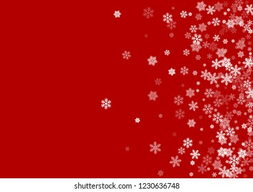 Winter snowflakes border magic vector background.  Macro snowflakes flying border illustration, holiday banner with flakes confetti scatter frame, snow elements. Cold weather winter symbols.