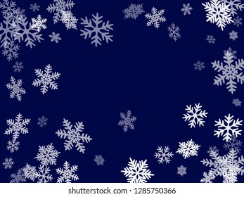 Winter snowflakes border magic vector background.  Macro snowflakes flying border design, holiday card with flakes confetti scatter frame, snow elements. Cold season winter symbols.