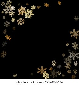 Winter snowflakes border magic vector background.  Macro snowflakes flying border design, holiday card with many flakes confetti scatter frame, snow elements. Frosty cold season symbols.