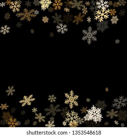 Winter snowflakes border minimal vector background.  Macro snowflakes flying border design, holiday card with many flakes confetti scatter frame, snow elements. Cold weather winter symbols.