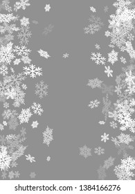 Winter snowflakes border minimal vector background.  Macro snowflakes flying border illustration, holiday card with flakes confetti scatter frame, snow elements. Frosty cold season symbols.