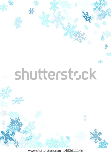 Winter snowflakes border simple vector background.  Macro snowflakes flying border design, holiday banner with flakes confetti scatter frame, snow elements. Frosty winter symbols.