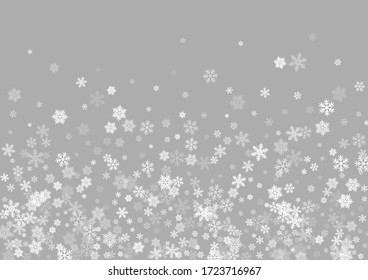 Winter snowflakes border trendy vector background.  Macro snowflakes flying border design, holiday card with crystal flakes confetti scatter frame, snow elements. Frosty cold season symbols.